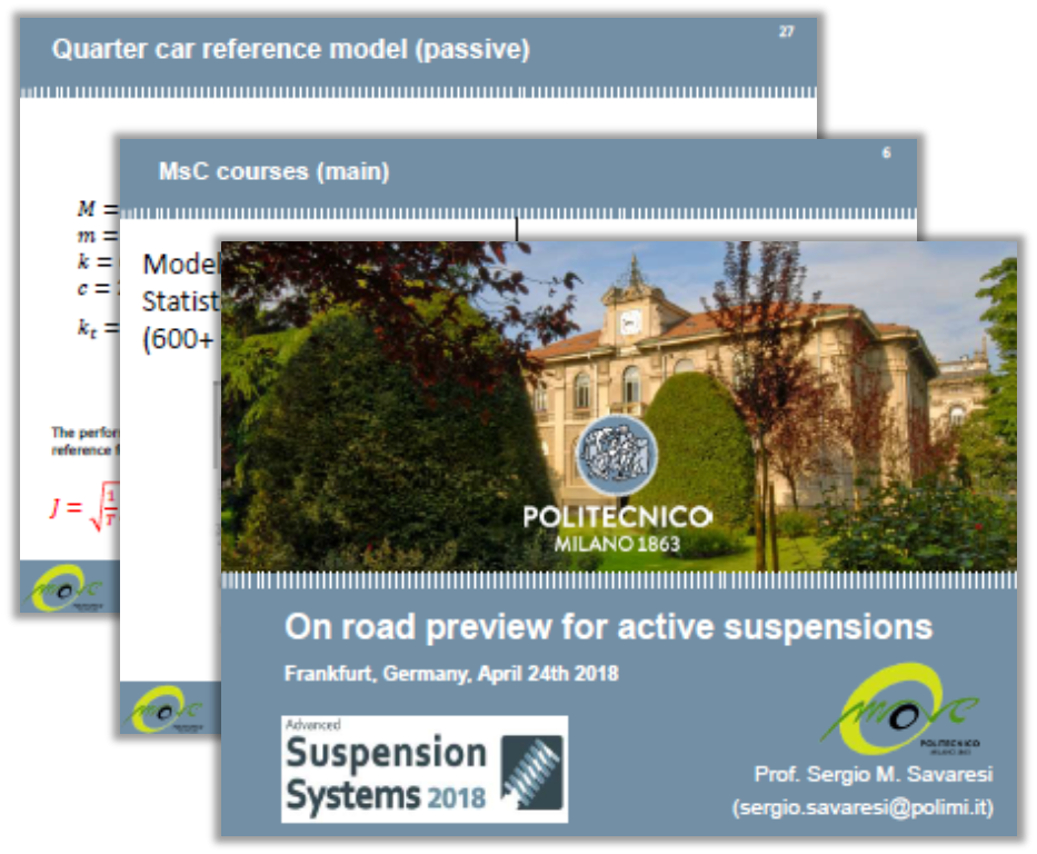 Politecnico di Milano Presentation: On Road Preview for Active Suspensions