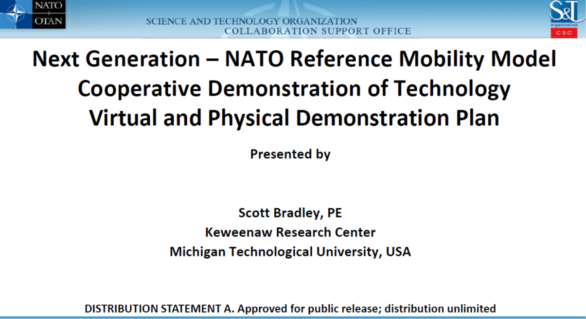 Next Generation – NATO Reference Mobility Model Cooperative Demonstration of Technology Virtual and Physical Demonstration Plan