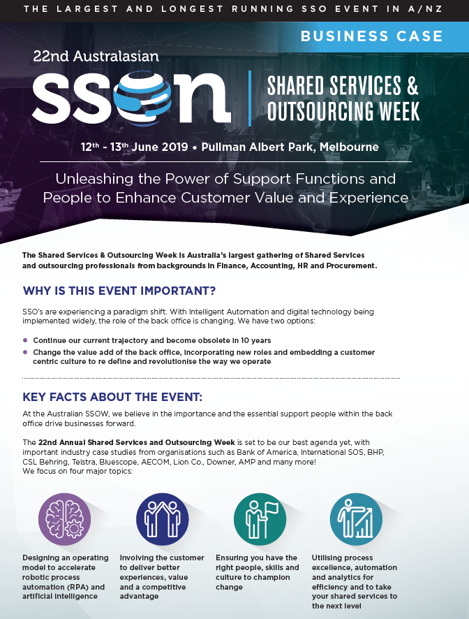 Business Case - Shared Services & Outsourcing Week 2019