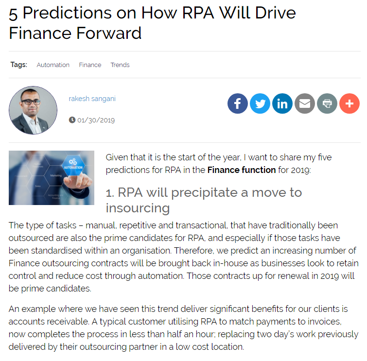 5 Predictions on How RPA Will Drive Finance Forward