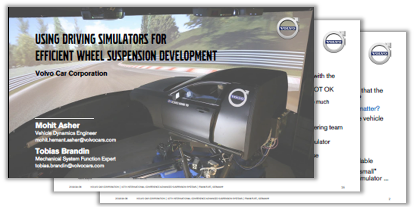 Presentation on how to use driving simulators for efficient wheel suspension development