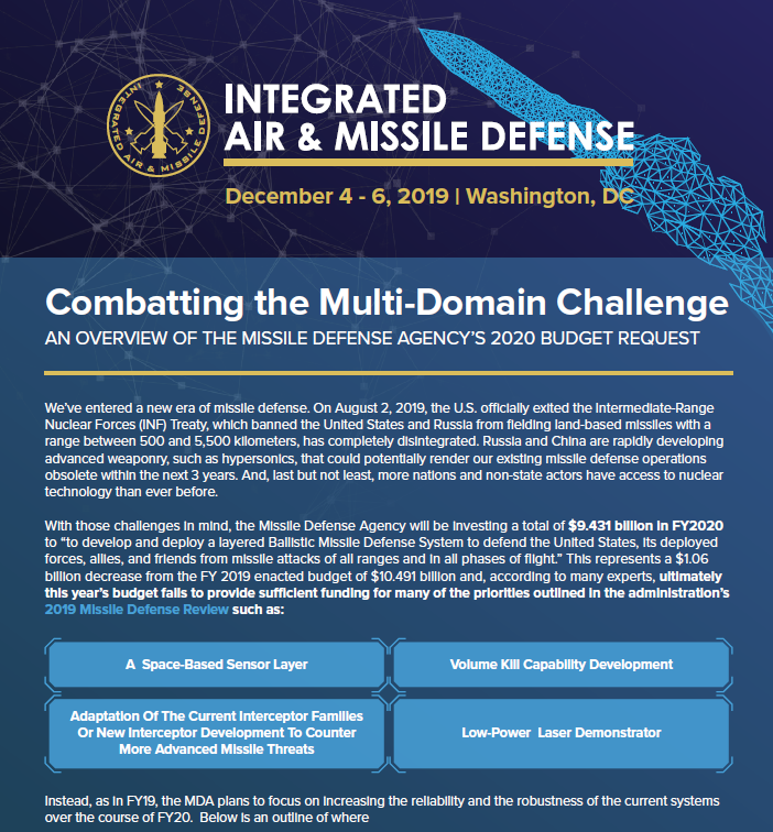 Army Integrated Air and Missile Defense (IAMD) 2020 Budget At-A-Glance