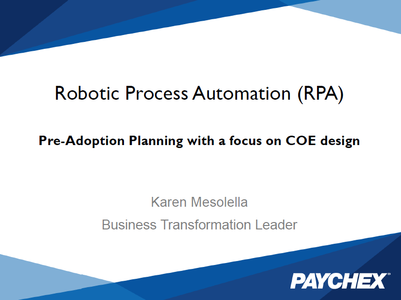 Paychex: Pre-Adoption Planning with a focus on COE design