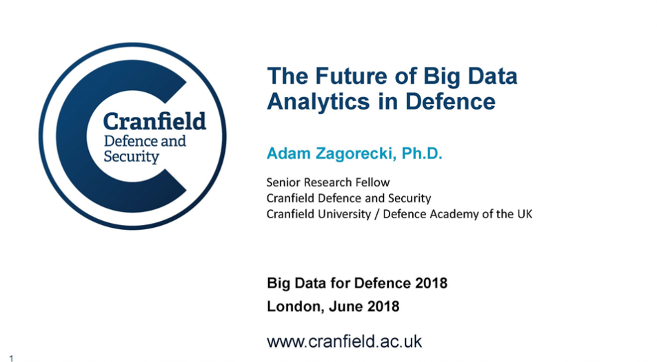 Past presentation: The Future of Big Data Analytics in Defence:
