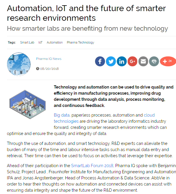 Automation, IoT and the future of smarter research environments