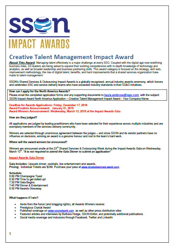 SSOW 2019 Creative Talent Management Impact Award Application