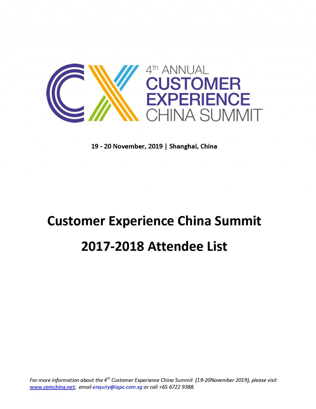 View 2017-2018 Attendee List - Customer Experience China Summit