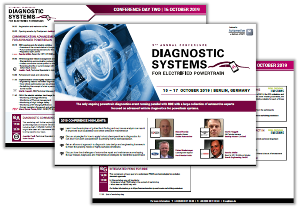 Diagnostic Systems for Electrified Powertrains 2019 Agenda