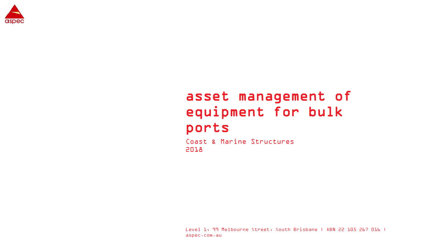 Asset Management of Equipment for Ports