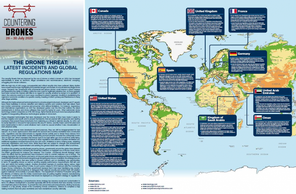 The drone threat: 2020 incidents and regulations map