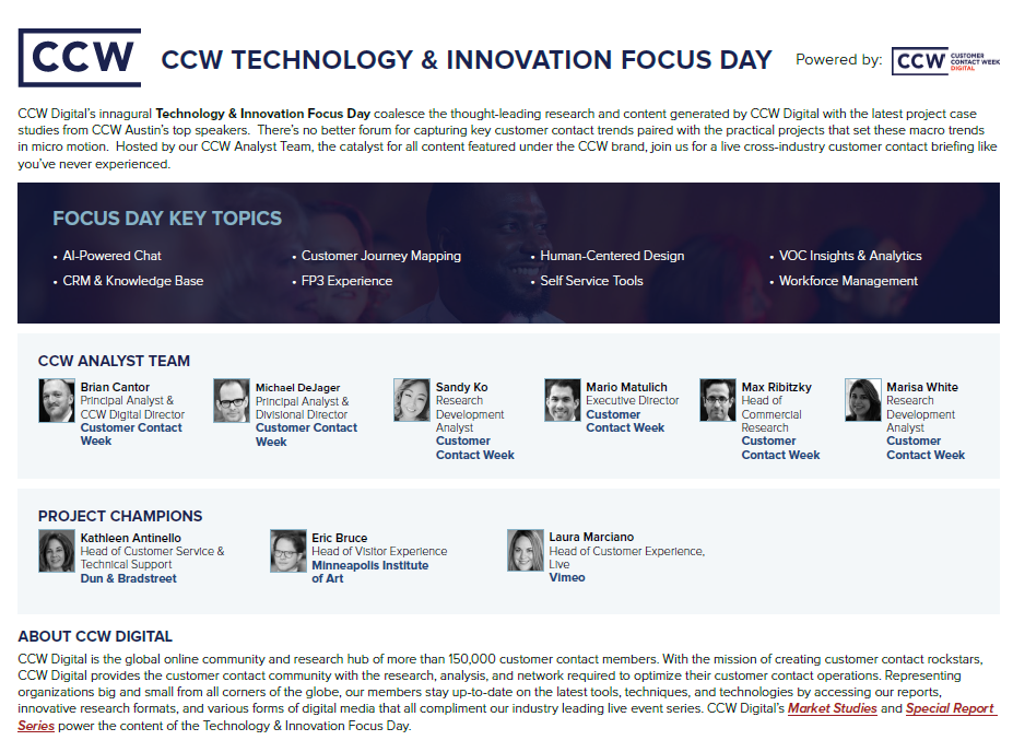 View Event Guide: Technology & Innovation Focus Day Agenda