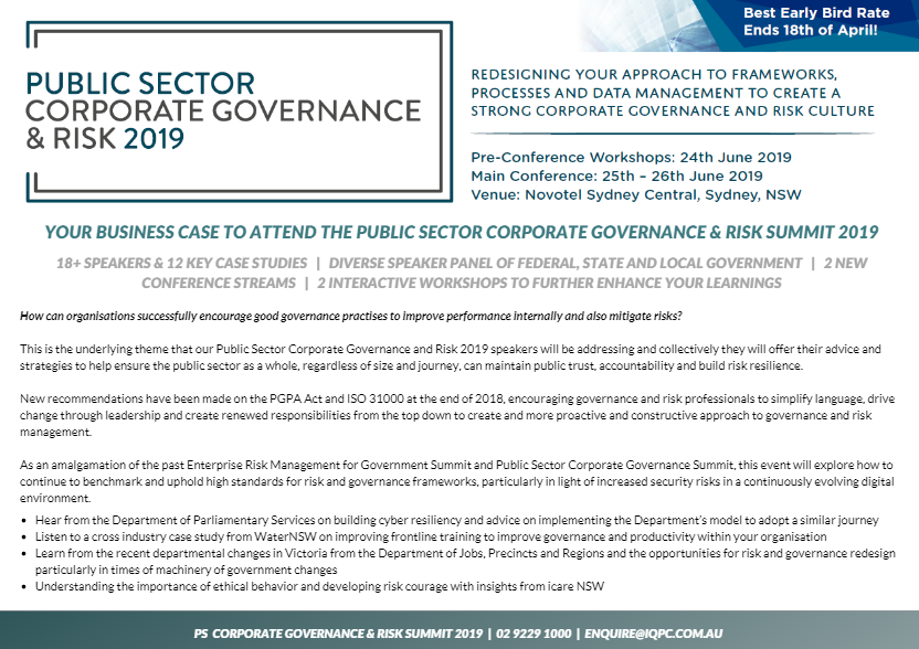 Your Business Case to Attend the Public Sector Corporate Governance and Risk Summit 2019
