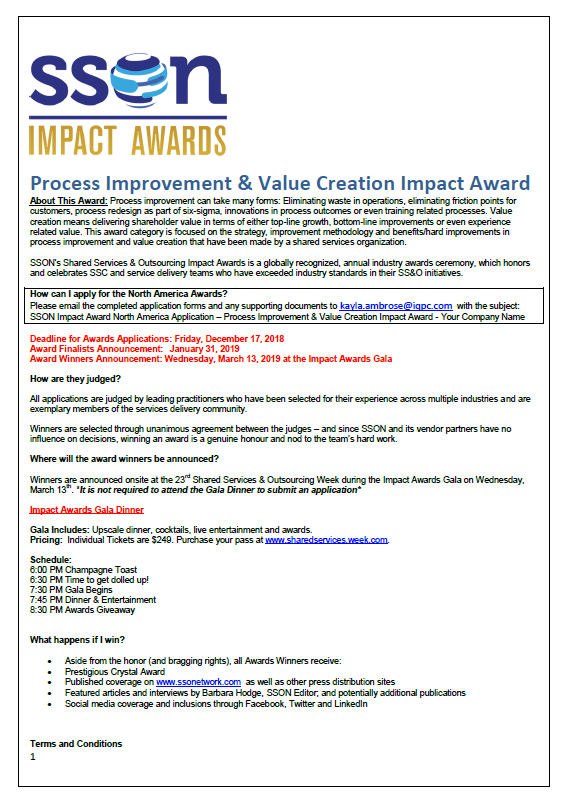 SSOW 2019 Process Improvement & Value Impact Award Application