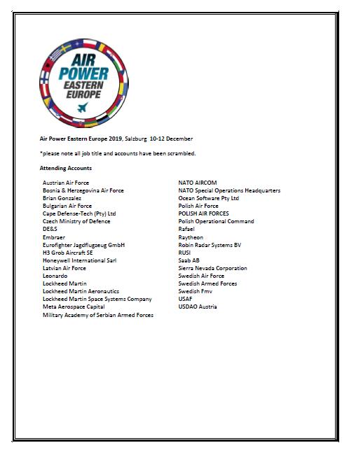 2019 Attendee List