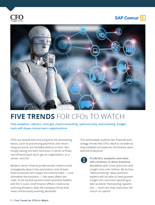 Five trends for CFOs to watch
