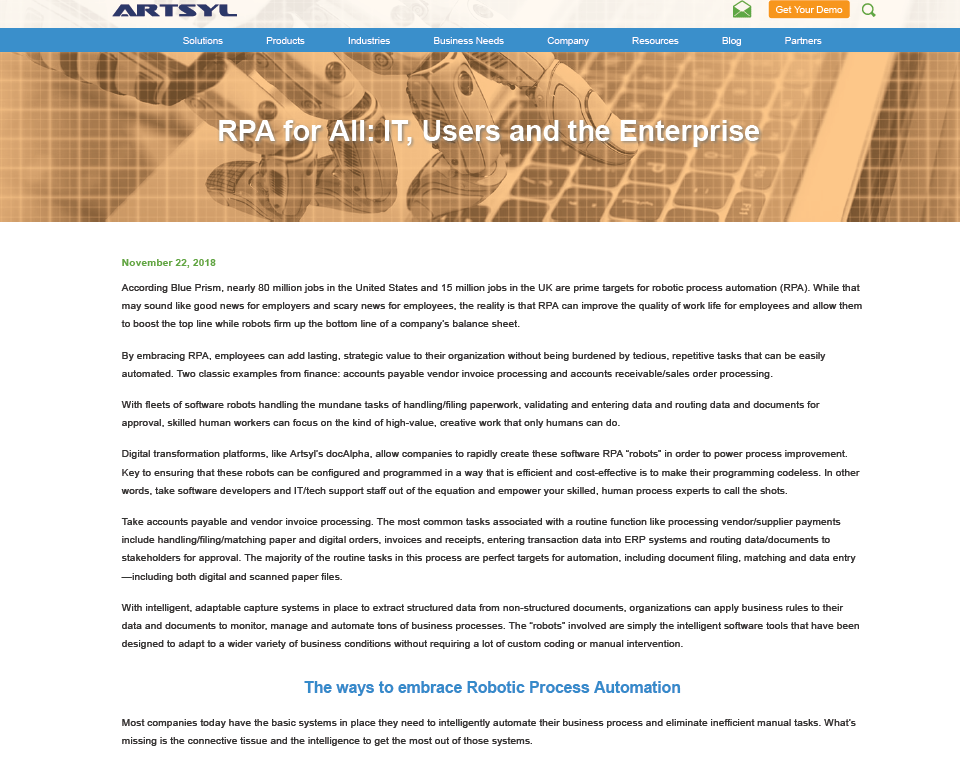RPA for All: IT, Users, & the Enterprise