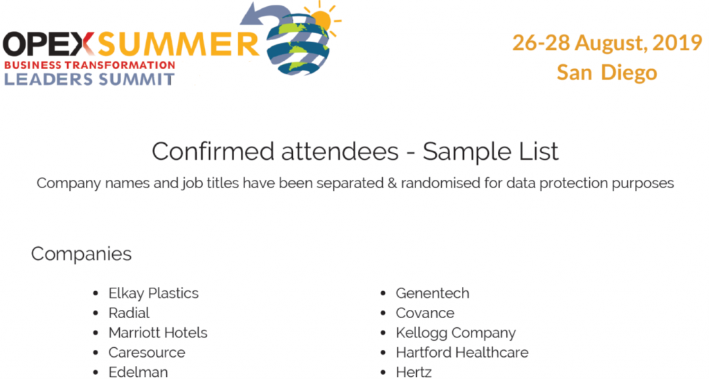 OPEX Summer 2019 - spex - List of Attendees