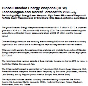 Global Directed Energy Weapons (DEW) Technologies and Market Forecast to 2025