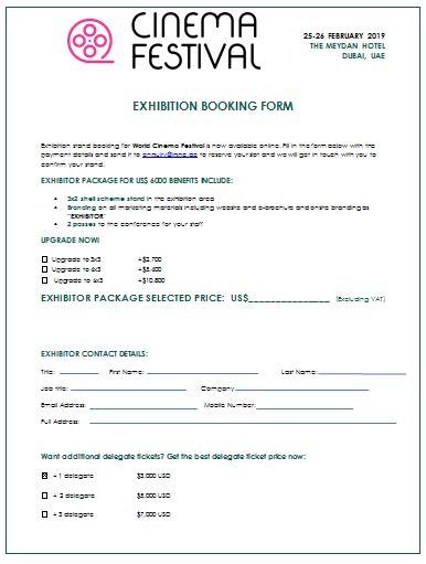 Cinema Festival - Exhibition booking form
