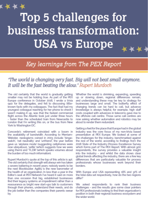 OPEX Week 2019 - spex - Top 5 Business Transformation Challenges