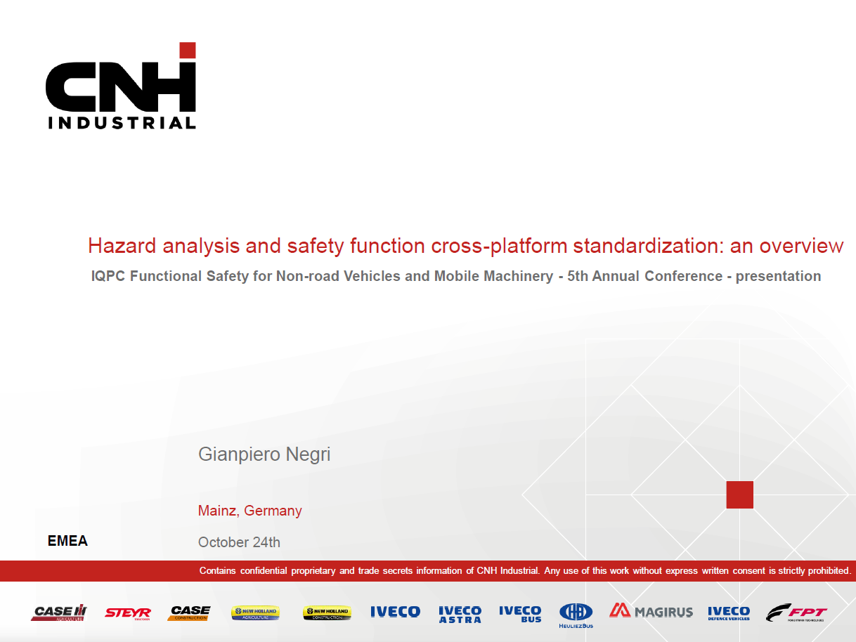 Presentation on the overview of hazard analysis and safety function cross-platform standardization