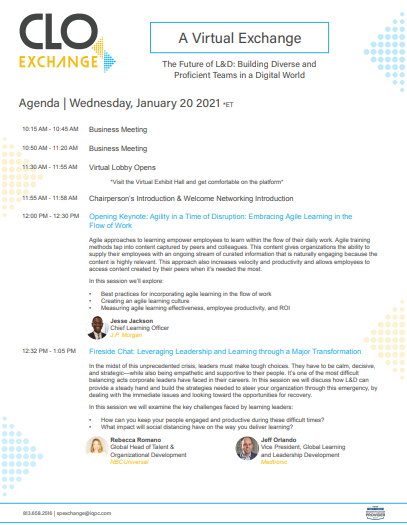 Download the 2020 CLO Virtual Exchange Agenda