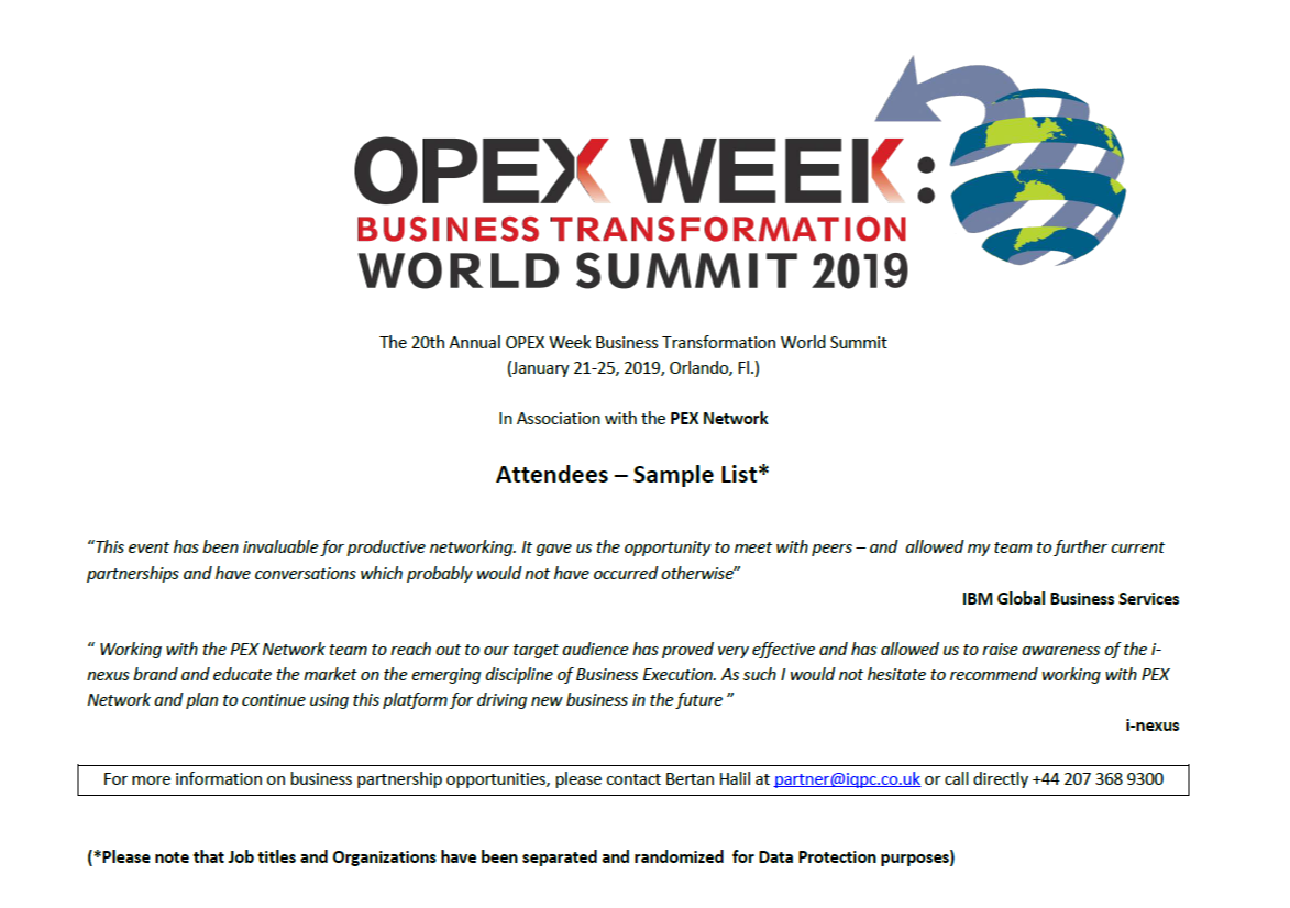 OPEX Week 2019 - spex - Sample Attendee List 29.8