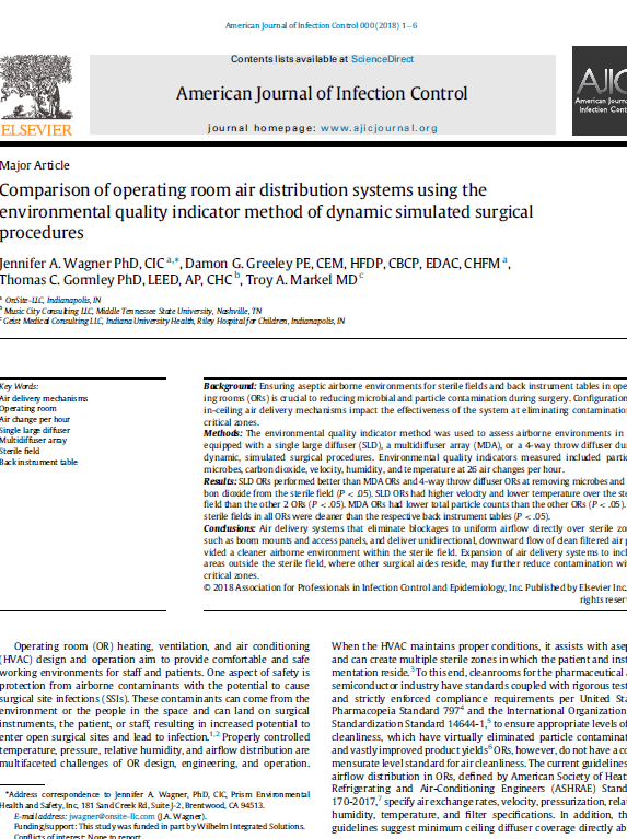 Comparison of operating room air distribution systems using the environmental quality indicator method of dynamic simulated surgical procedures