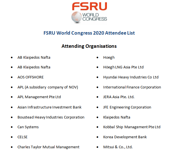 FSRU World Congress 2020 Attendee List