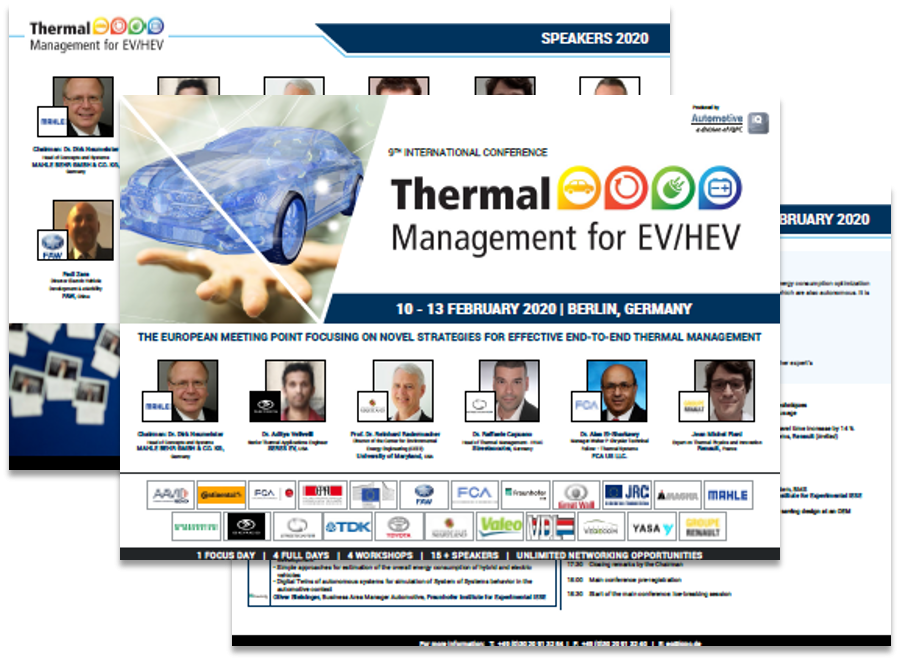 Thermal Management for EV/HEV 2020 | Conference Agenda