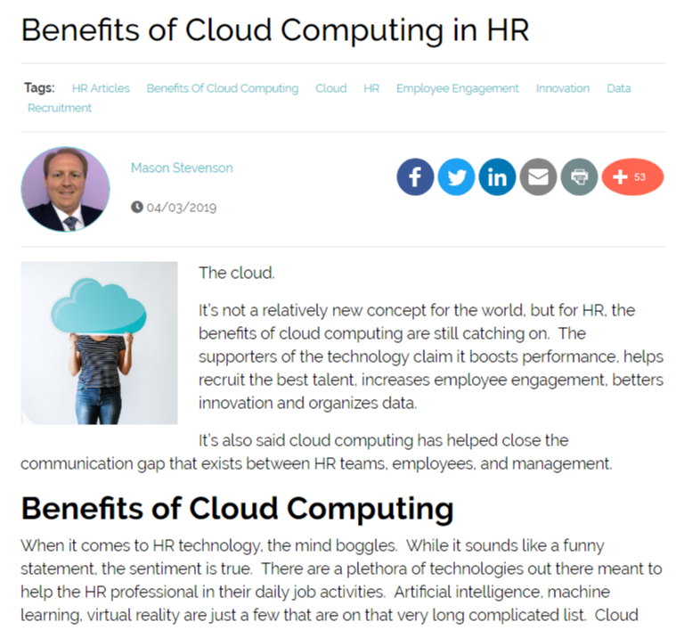 Six Major Benefits of Cloud Computing in HR