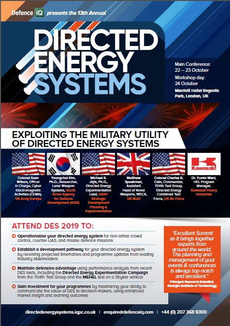 Directed Energy Systems 2019 Agenda