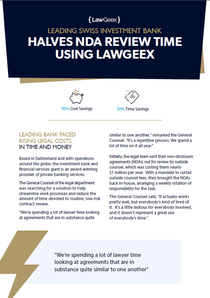 Case Study: Leading Swiss Investment Bank Halves NDA Review Time with LawGeex
