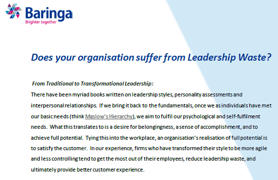 Does your organisation suffer from Leadership Waste?