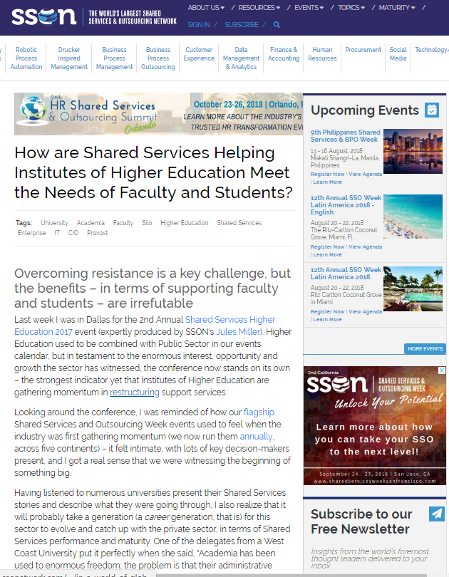 How are Shared Services Helping Institutes of Higher Education Meet the Needs of Faculty and Students?