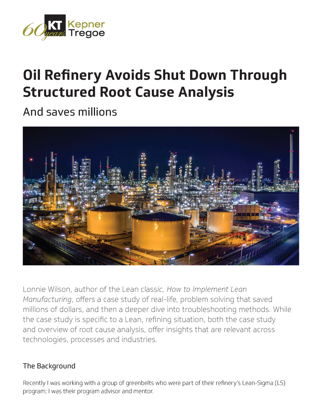 Oil Refinery Avoids Shut Down Through Structured Root Cause Analysis