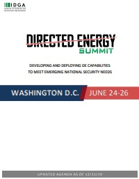 Directed Energy Systems 2020 Preliminary Agenda