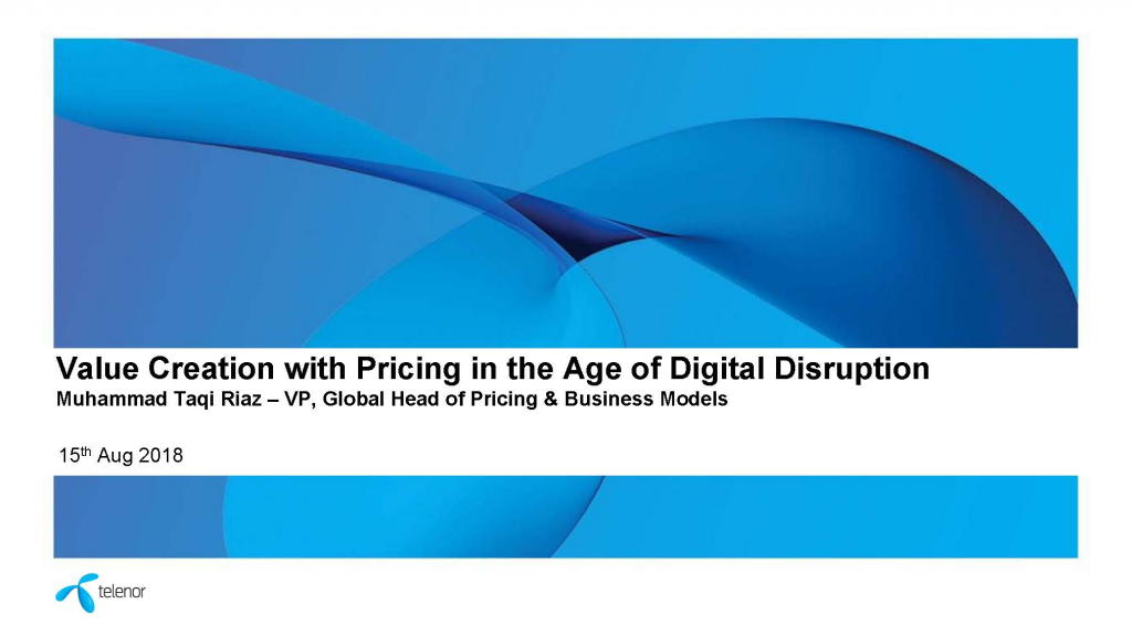 2018 Past Presentation - Value Creation with Pricing in the Age of Digital Disruption