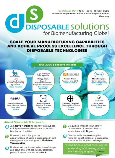 Disposable Solutions for Biomanufacturing | Download the Programme