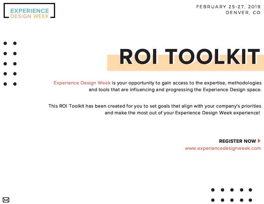 2019 Experience Design Week ROI Toolkit