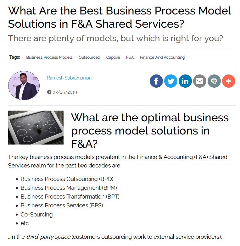 What are the Best Business Process Model Solutions in F&A Shared Services?