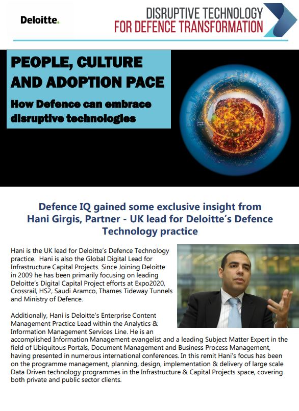 People, Culture and Adoption Pace - How Defence can embrace disruptive technologies