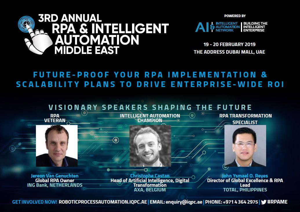 3rd Middle Eastern RPA and Intelligent Automation Forum – Agenda