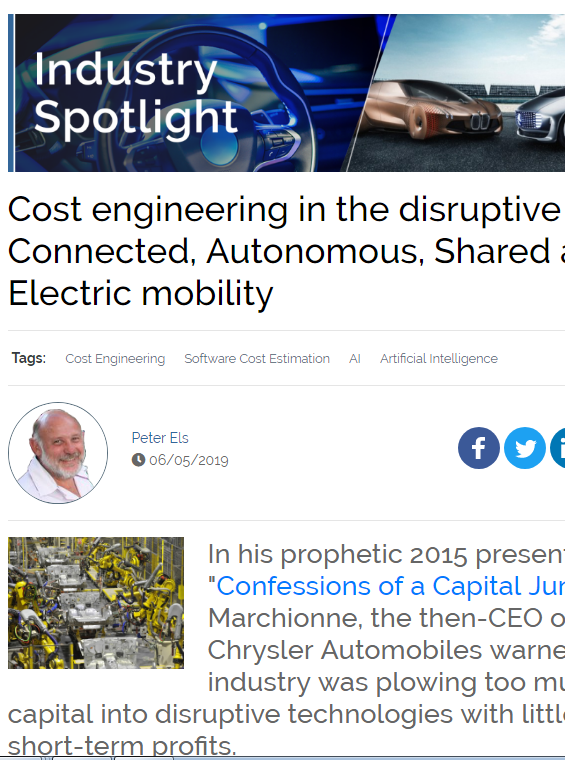 Cost Engineering in the Disruptive Era of Connected, Autonomous, Shared and Electric Mobility