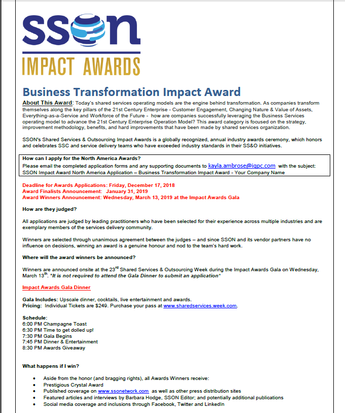 SSOW 2019 Business Transformation Impact Award Application