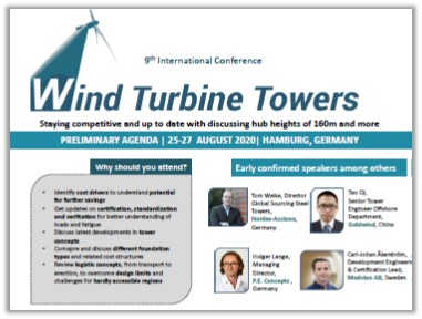 Advances in Wind Turbine Towers 2020 - Conference Agenda