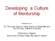 Developing a Culture of Mentorship