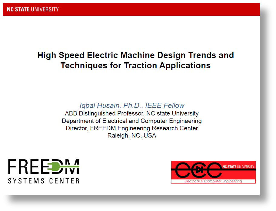 Presentation on High Speed Electric Machine Design Trends and Techniques for Traction