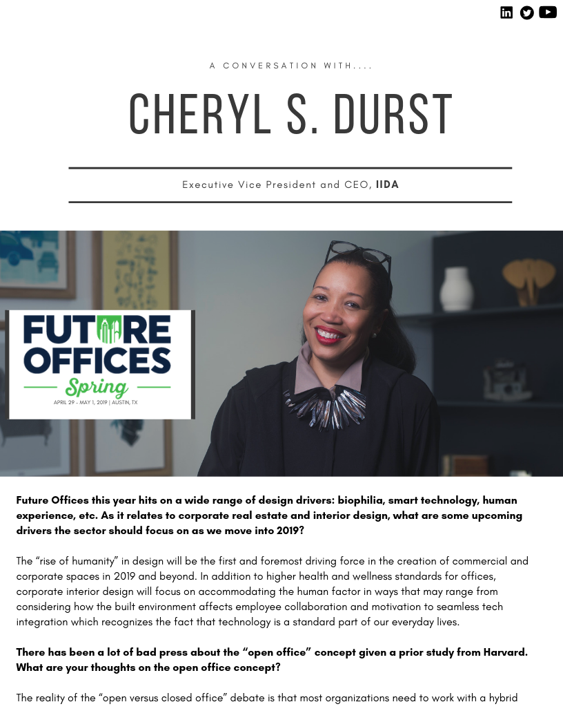 """The """"Rise of Humanity"""" in Design: A Conversation with Cheryl Durst, Executive Vice President and CEO, IIDA"""