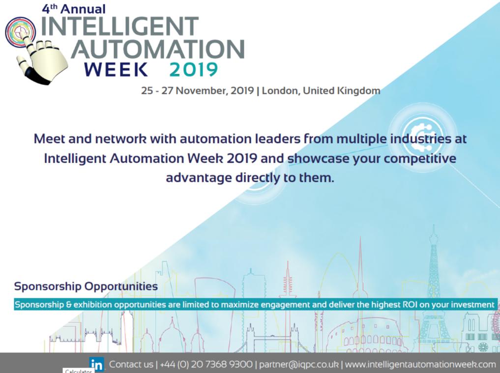 Intelligent Automation Week - Spex - Sponsorship Prospectus 2019